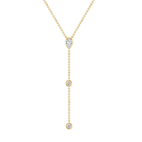 Diamond Pear and Bezel Lariat Necklace in 14K Yellow Gold