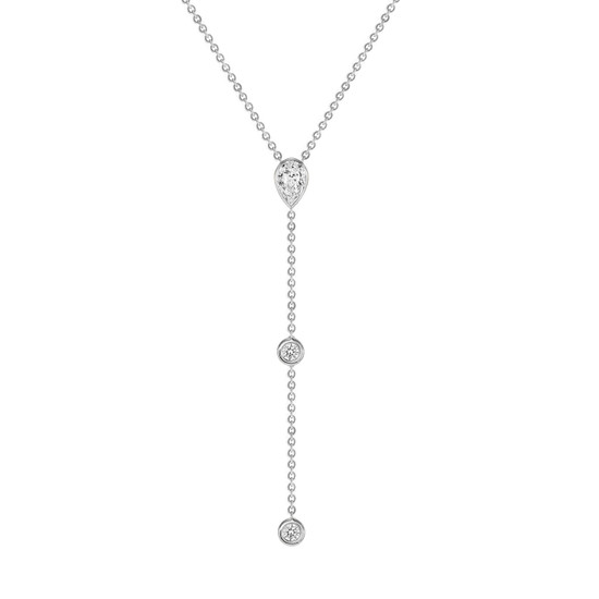Diamond Pear and Bezel Lariat Necklace in 14K White Gold