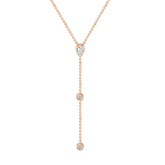 Diamond Pear and Bezel Lariat Necklace in 14K Rose Gold