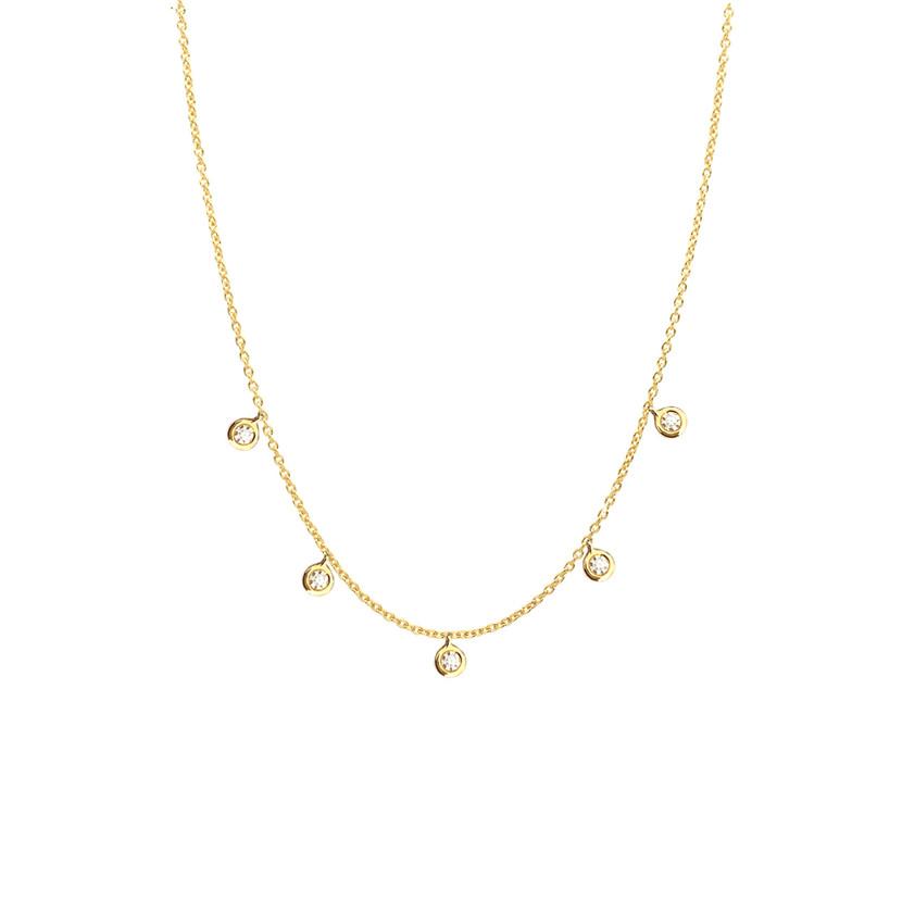 New Drop bezel diamond necklace 14K Gold