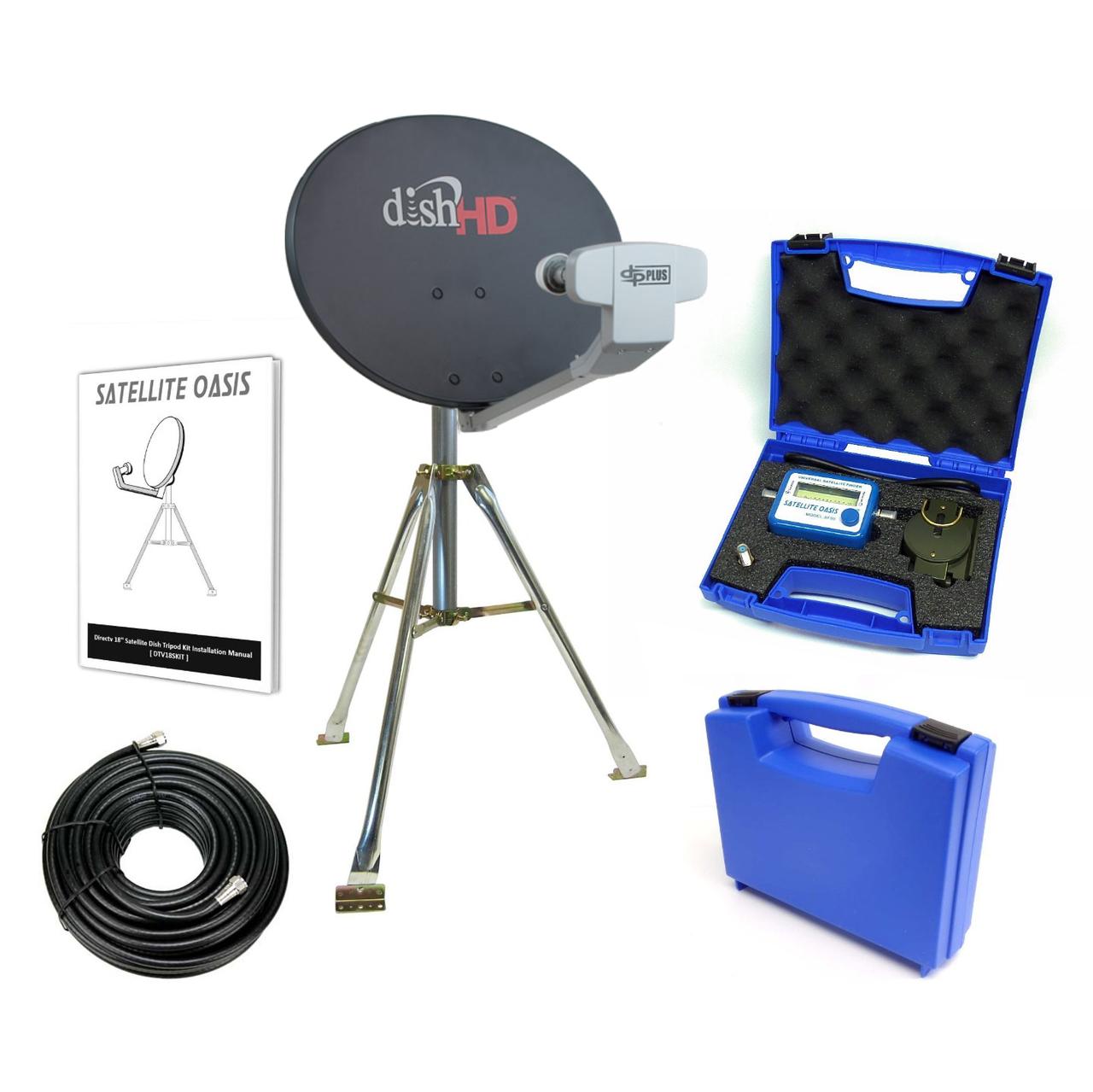 dish network 1000 2 turbo hdtv rv satellite tripod kit