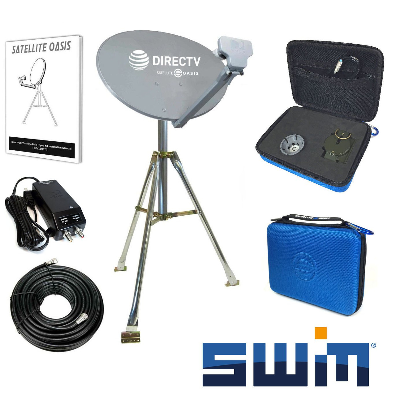 directv swim hdtv satellite dish tripod kit for rv / mobile / portable -  satellite oasis