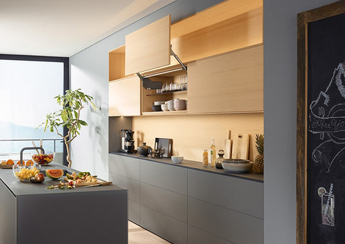 Fronts open parallel to the cabinet with AVENTOS HL allowing complete access
