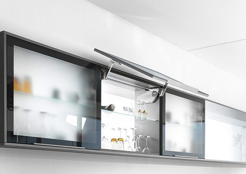 Picture shows the AVENTOS HS up and over lift system with cover cap.