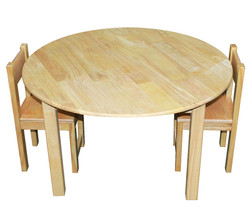 qtoys round natural kids table and chairs