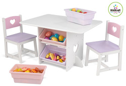 kidkraft kids heart table and storage set