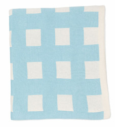 emotion and kids cotton checked blue and white baby blanke