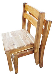 2 wooden childrens  chairs stacked