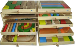 qtoys natural wooden block set - 128 pieces