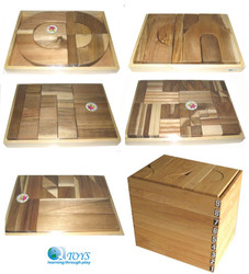 qtoys wooden block set - 207 wooden pieces - natural wooden blocks
