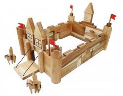 natural wooden castle building set for kids
