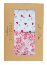 red hearts and blossoms emotion and kids muslin wrap gift set