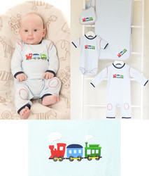 emotion and kids puffing billy clothing, bib and blanket