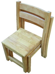 2 timber kids chairs stacked