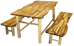 timber childrens table and benches