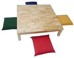 wooden table and 4 pillows