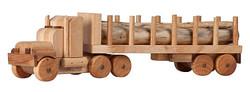 kids wooden toy logging truck