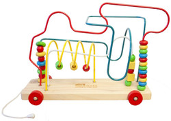 Kids Wooden Bead Maze on Wheels Set
