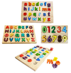 qtoys wooden puzzle pack - alphabet and numerical wooden puzzle set