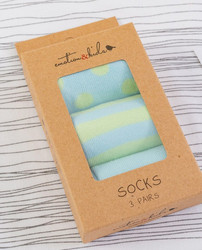 Blue and Green Dots & Stripes Baby Sock Set