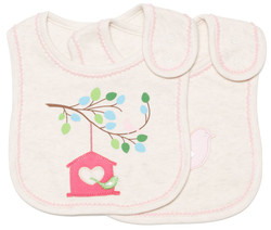 emotion and kids little birdhouse 2pc cotton baby bib set