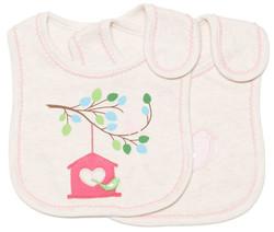 emotion and kids little birdhouse 2pc cotton baby bib set