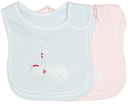 emotion and kids safari blue and pink 2 piece cotton baby bib set