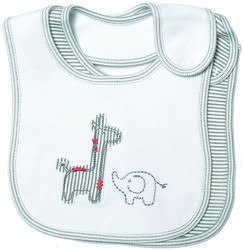 emotion and kids grey safari 2 piece cotton baby bib set