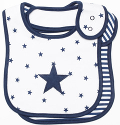 emotion and kids navy star 2pc cotton baby bib set