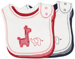 emotion and kids Safari 2 piece Cotton Baby Bib Set - Red & Navy