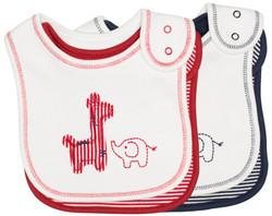emotion and kids Safari 2 piece Cotton Baby Bib Set - Red & Navy