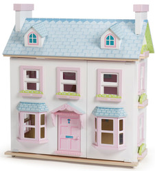 girls pink and blue wooden doll house