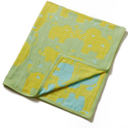 Breganwood Organics Muslin Baby Blanket - Jungle Collection - Green Elephants