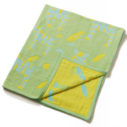 Breganwood Organics Muslin Baby Blanket - Jungle Collection - Green Zebras