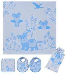 Breganwood Organics Muslin Swaddle Set - Prairie Collection - Blue Ferret