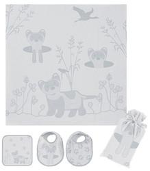 Breganwood Organics Muslin Swaddle Set - Prairie Collection - Grey Ferret