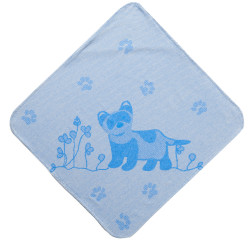 Breganwood Organics Kids Hooded Towel - Prairie Collection Ferrets - Blue Ferret