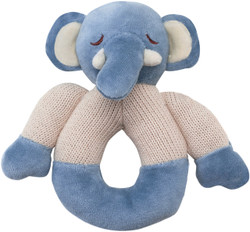 My Natural Elephant Knitted Teether Rattle - Blue
