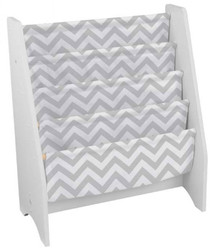 White Sling Bookshelf - Gray Pattern
