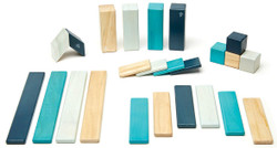 Tegu Magnetic Wooden Block - 24 Piece Blues Set