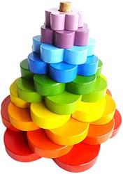 Qtoys Rainbow Stacking Flowers Puzzle set