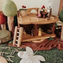 qtoys gnome mini eco dollhouse set up