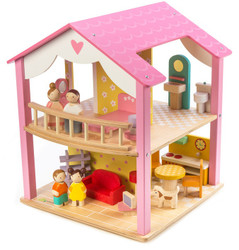 Tenderleaf Pink Leaf Cottage Dollhouse Set