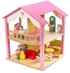 Tenderleaf Pink Leaf Cottage Dollhouse Set