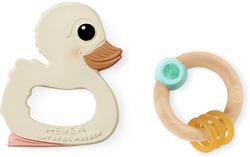 hevea hawan duck and rubberwood teether gift set