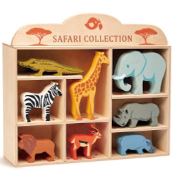 Tenderleaf Wooden Animal Safari Set with Display Shelf