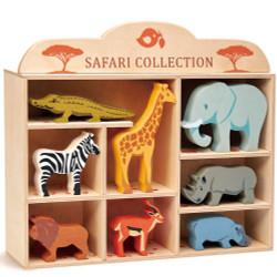 Tenderleaf Wooden Animal Safari Set with Display Shelf
