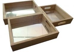 Qtoys Rectangular Mirror Trays Set of 3