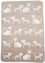 David Fussenegger Beige Lion & Leopard Panda Bassinet Blanket