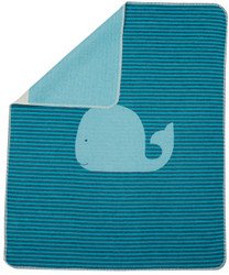 David Fussenegger Blue Stripe Whale Jewel Bassinet Blanket